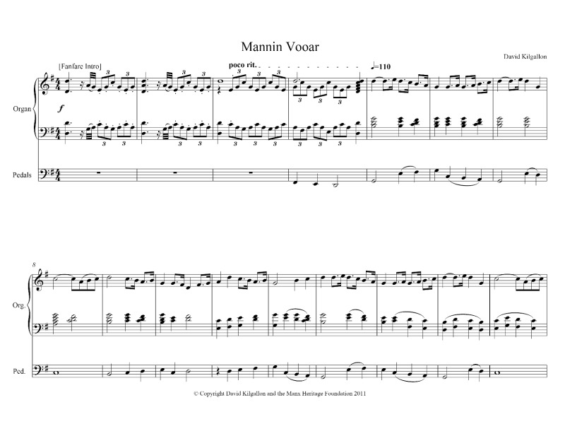 Mannin Vooar by David Kilgallon (solo organ) | ManxMusic com